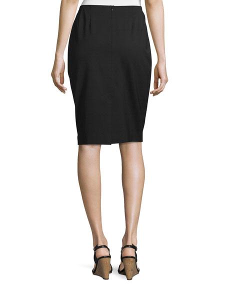 Lafayette 148 New York Plus Size Modern Slim Crepe Skirt, Black