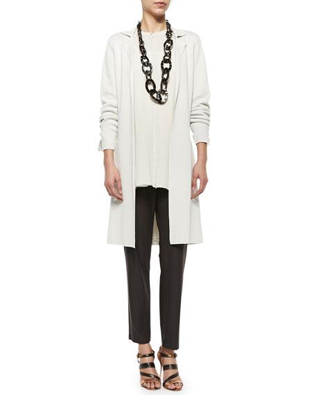 Silk-Cotton Interlock Long Drama Jacket