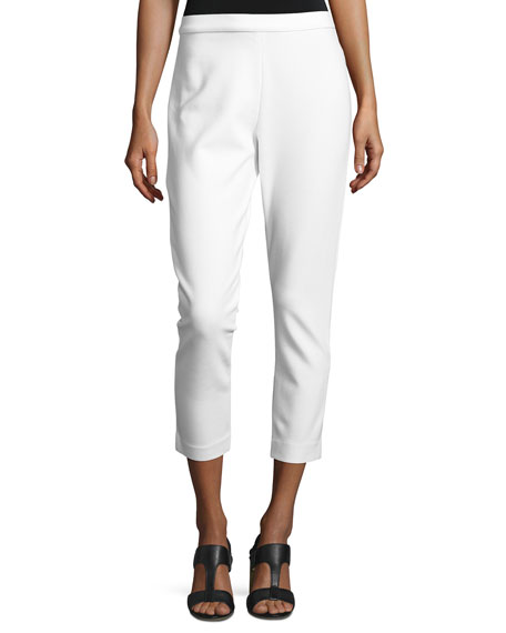 Joan Vass Ponte Slim Ankle Pants, White