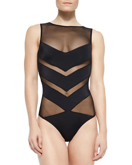 OYE Swimwear Shaw Solid/Mesh Striped One-Piece