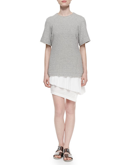 Derek Lam 10 Crosby Knit/Chiffon/Poplin Layered Combo Dress