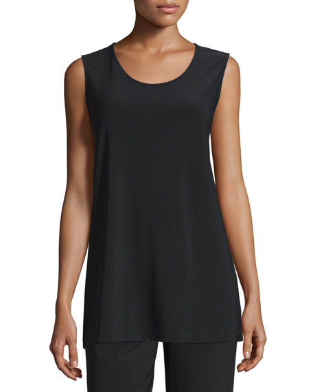 Caroline Rose Knit Tunic/Tank, Black, Petite
