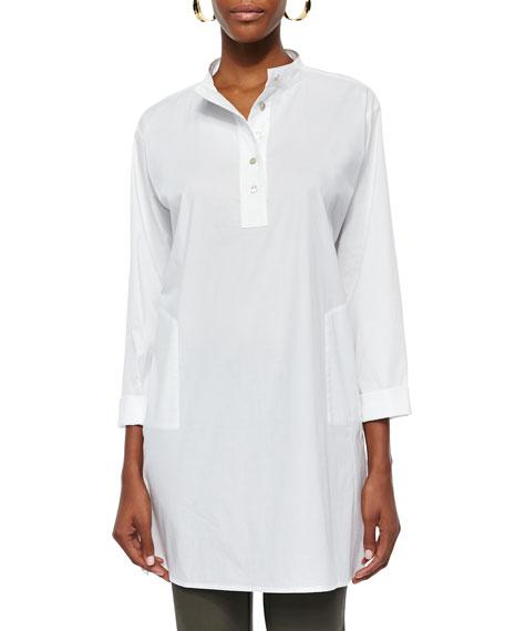 Eileen Fisher Stretch Easy Big Shirt, White, Plus