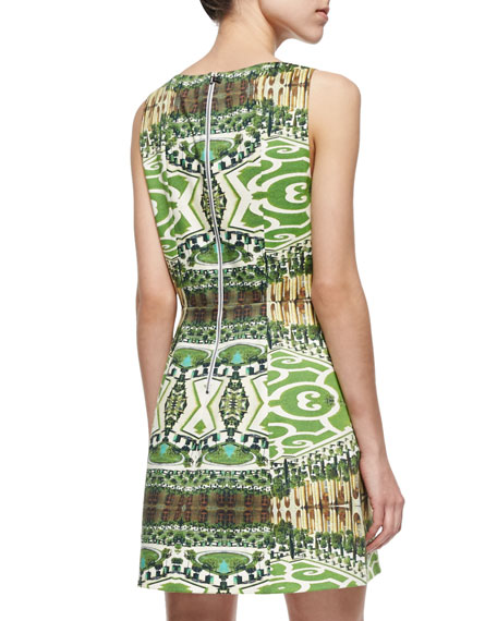 Alice + Olivia Carrie Printed Boat-Neck Dress