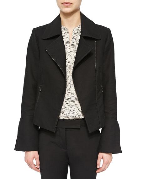 L'Agence Slit-Sleeve Moto Jacket, Black