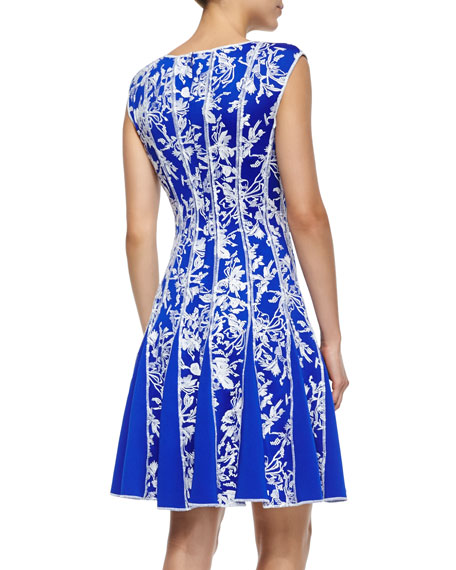 Sleeveless Embroidered Cocktail Dress, Sapphire/White