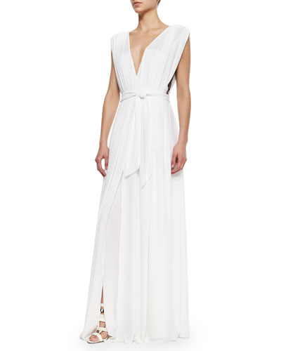Deep-V Tie-Waist Gown