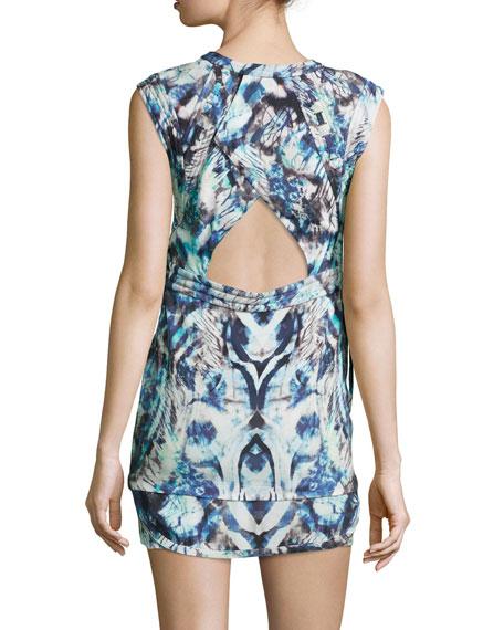 Deinia Ribbed Abstract-Print Dress