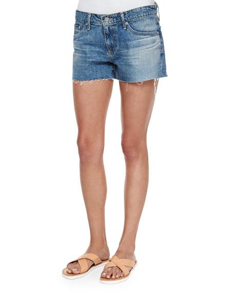 AG Bonnie Relaxed Frayed Denim Shorts