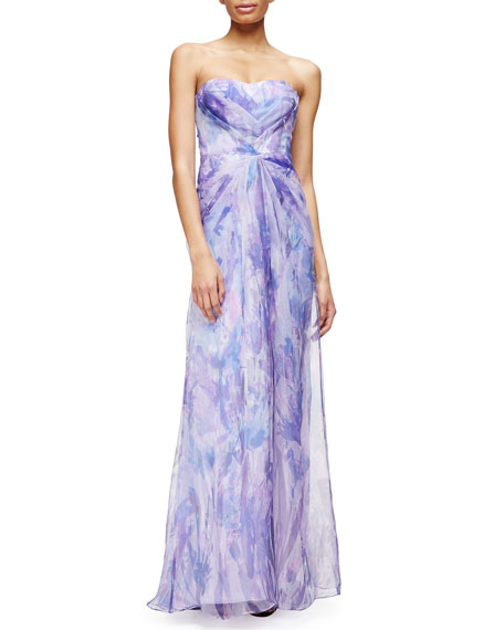 Badgley Mischka Strapless Sweetheart Floral-Print Gown