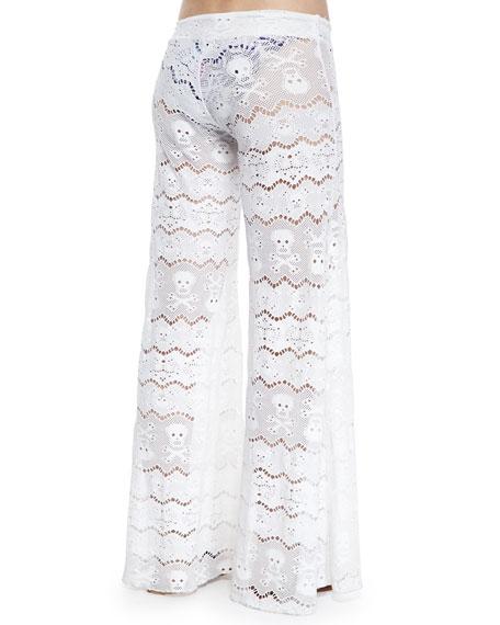 Wide-Leg Lace Coverup Pants
