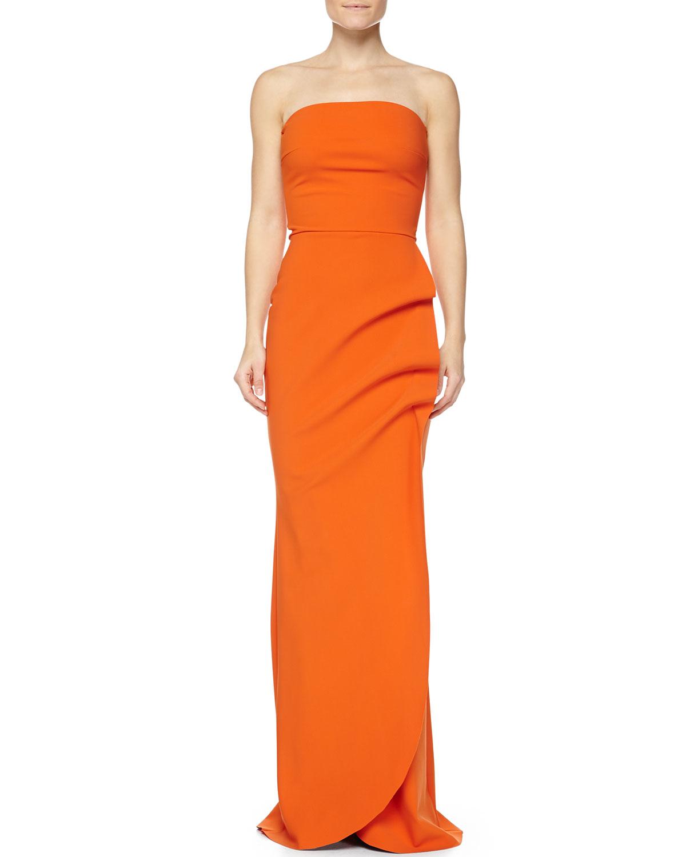 La Petite Robe Clotilde Sleeveless Long Gown, Orange | Neiman Marcus