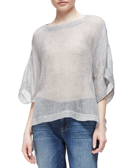 Eileen Fisher Linen-Blend Mesh Short-Sleeve Poncho Top, Pewter