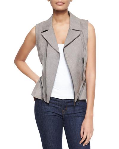 Woven Pebbled Leather Zipper Vest