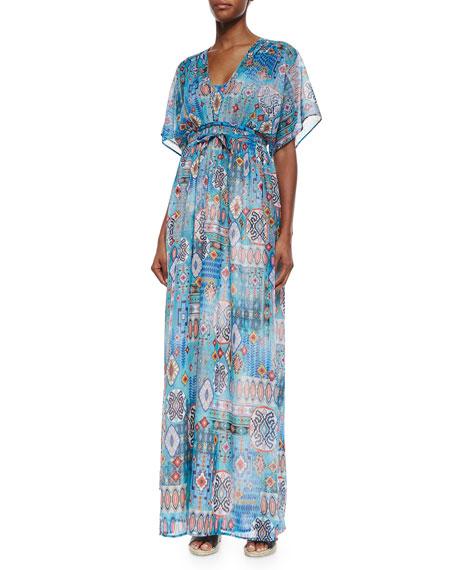 Neiman Marcus Multipattern Maxi Dress, Blue/Multicolor