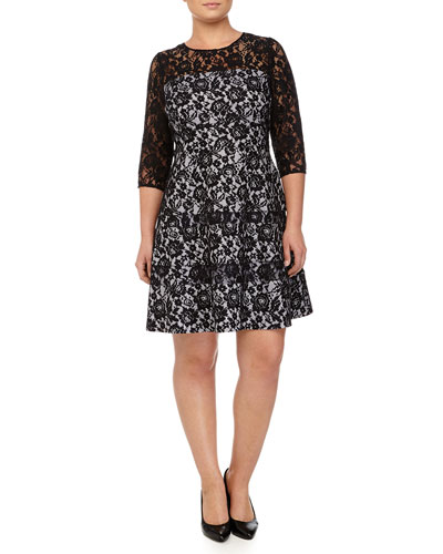 Tiered Lace Fit & Flare Cocktail Dress, Navy, Women