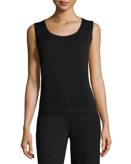 St. John Collection Santana Knit Contour Tank, Black