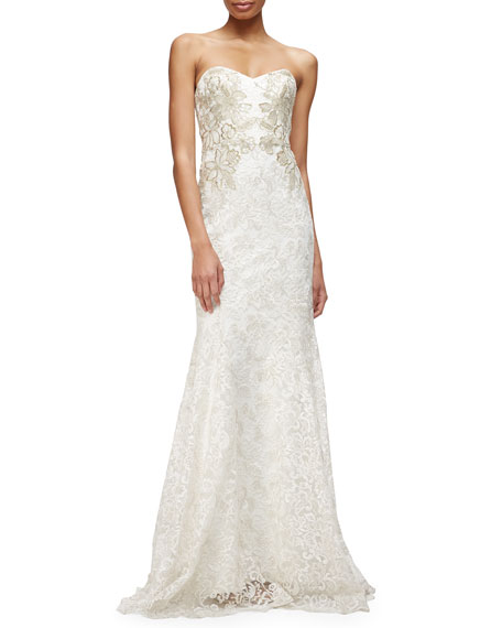Marchesa Strapless Sweetheart Lace Mermaid Gown
