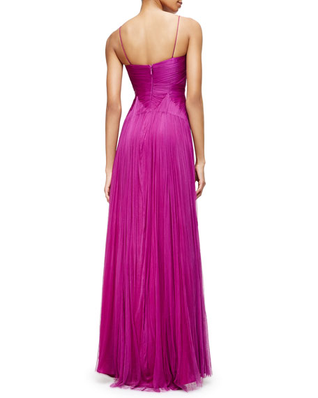 Catherine Deane Sleeveless Twisted-Bodice Silk Tulle Gown