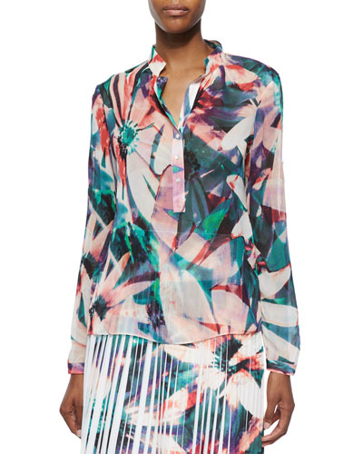 Long-Sleeve Floral-Print Blouse