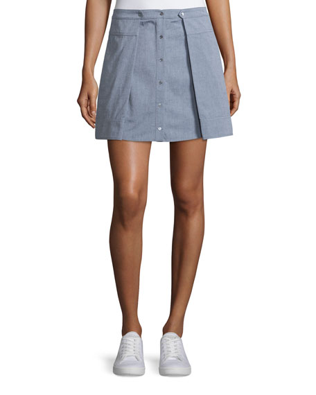 T by Alexander Wang Oxford Cotton Pleated Mini