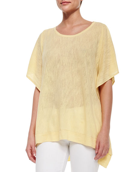 Cold-Shoulder Linen-Blend Pullover