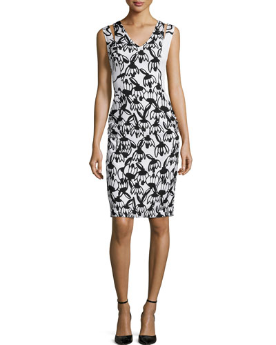 Sleeveless Floral-Print Body-Conscious Jersey Dress