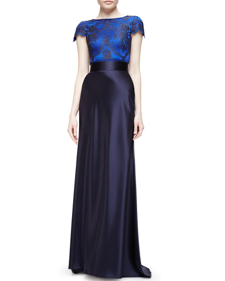Catherine Deane Short-Sleeve Lace-Bodice Two-Tone Satin Gown