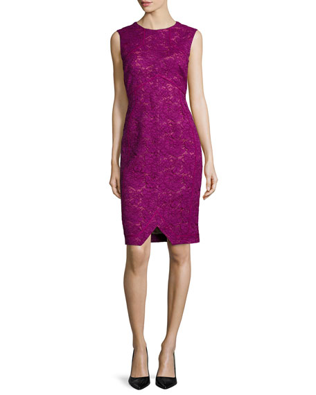J. Mendel Corded Floral Lace Sheath Dress