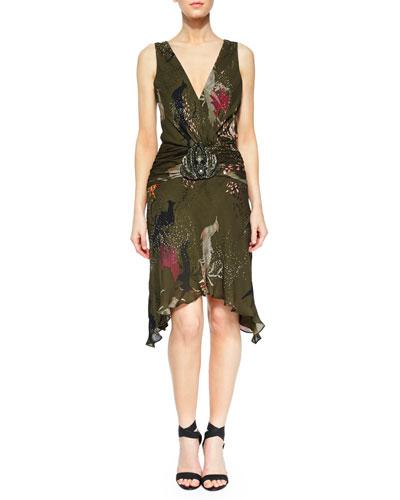 Embellished-Waist Silk V-Neck Dress