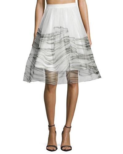 Anselmo Organza Black Wave Skirt
