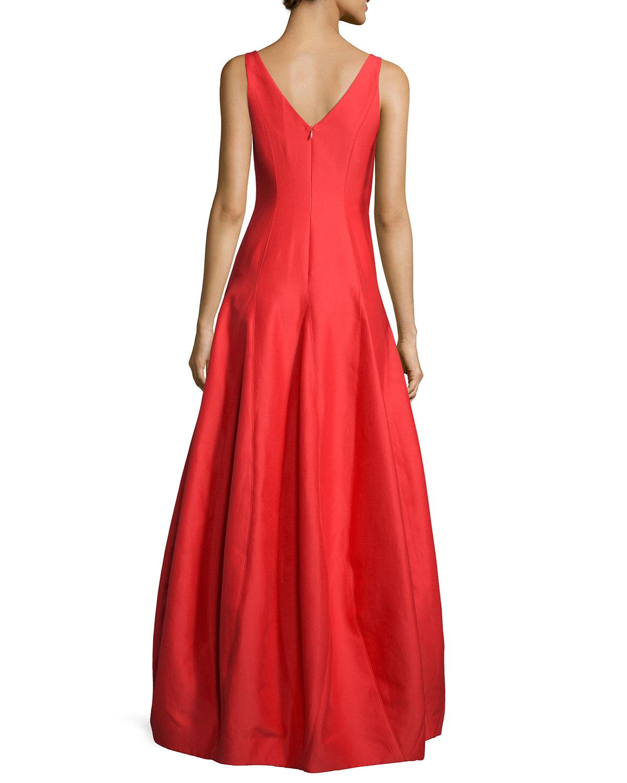 Halston Heritage Sleeveless V-Neck Tulip Gown, Navy   Neiman Marcus