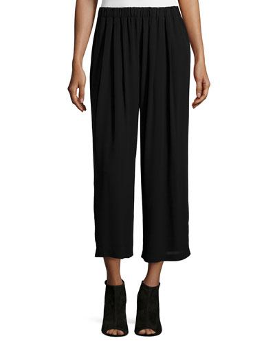 Pleated Wide-Leg Silk Pants, Black