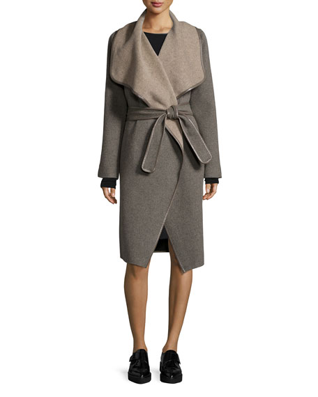 Drape-Front Leather-Trimmed Wool Coat