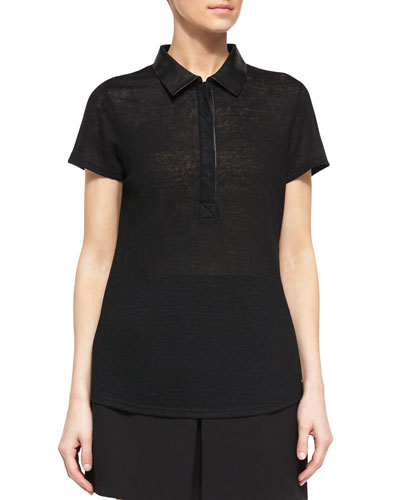 Leather-Trim Polo Shirt, Black