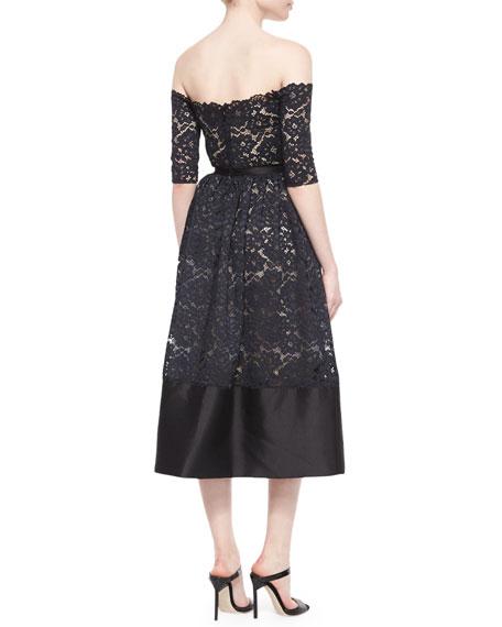 Off-the-Shoulder Lace Cocktail Dress, Black/Nude