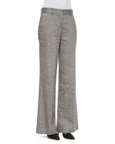 Onarma Sharkskin Wide-Leg Pants, Black/White