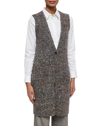 Onarma Sharkskin Sleeveless Vest, Black/Ivory
