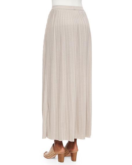 Joan Vass Petite Long Pleated Skirt