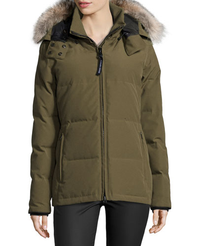 Chelsea Fur-Hood Parka Coat, Military Green 49