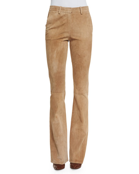 Theory Ilayda Classic Suede Pants Fawn Neiman Marcus