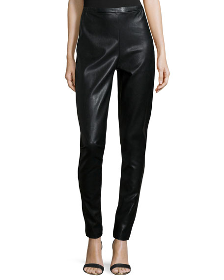 Caroline Rose Modern Faux-Leather & Ponte Easy Leggings