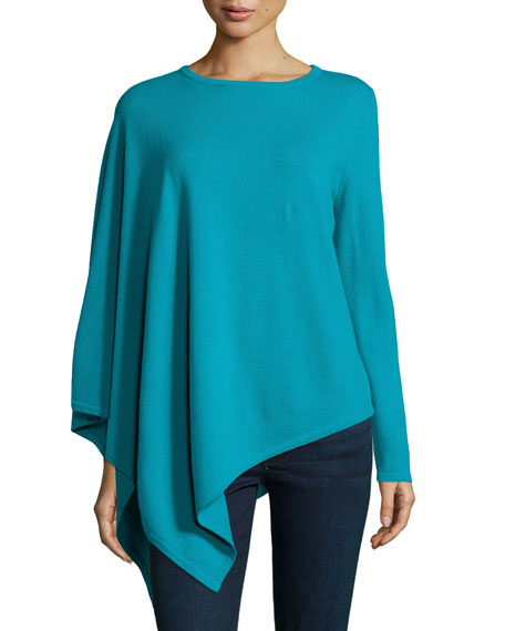 Neiman Marcus Cashmere Collection One-Sleeve Cashmere Asymmetric Poncho