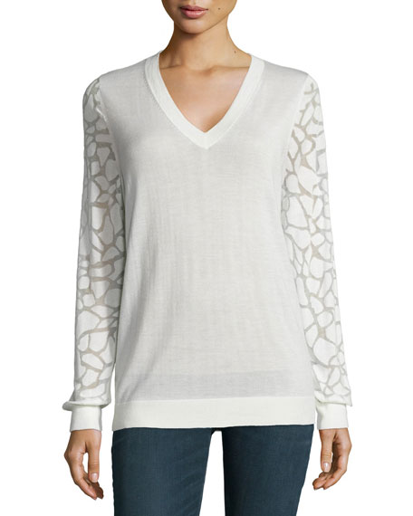 Neiman Marcus Cashmere Collection Animal Burnout-Sleeve Cashmere Top