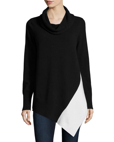 Cowl-Neck Colorblock Cashmere Tunic