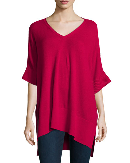 Neiman Marcus Cashmere Collection Short-Sleeve High-Low Cashmere Tunic