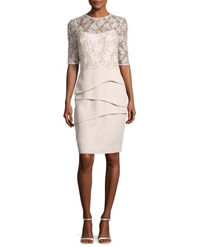 Lace & Crepe Sheath Dress, Cobalt
