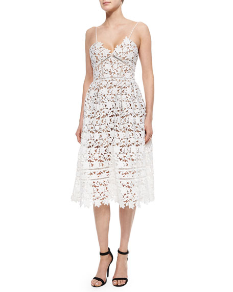 Self Portrait Azalea Lace Dress, White