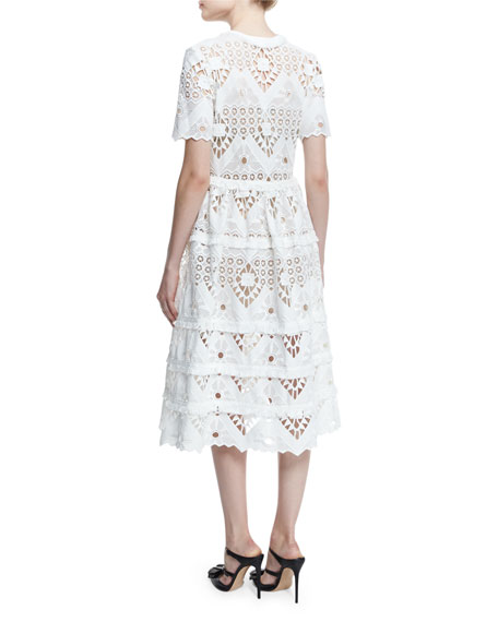 Alexis Benati Crochet Short-Sleeve Midi Dress, White