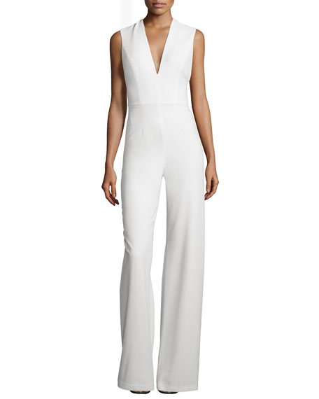 Amadeo Sleeveless V-Neck Jumpsuit with Cape